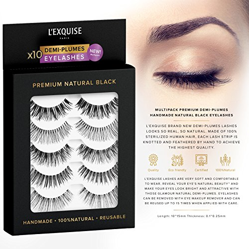 Premium Natural Black Eyelashes Demi Wispies Handmade Natural Cruelty-free Reusable Real Human Hair | Full Lash Strip Perfect False Light Lash Extension | 5 pairs Multipack by L