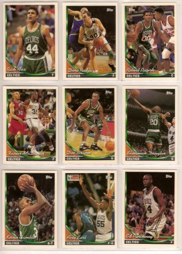 (Boston Celtics 1993-94 Topps Basketball Team Set-** Rick Fox, Robert Parrish, Ed Pinckney, Dino Radja, Kevin Gamble, Dee Brown, Sherman Douglas, Acie Earl, Xavier McDaniel, Chris Corchiani, Alaa Aldelnaby, Jimmy Oliver.)