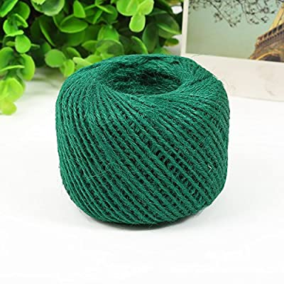 50 Meters Colourful Hemp Natural Jute Twine Hessian String Cord 2mm (Green): Arts, Crafts & Sewing