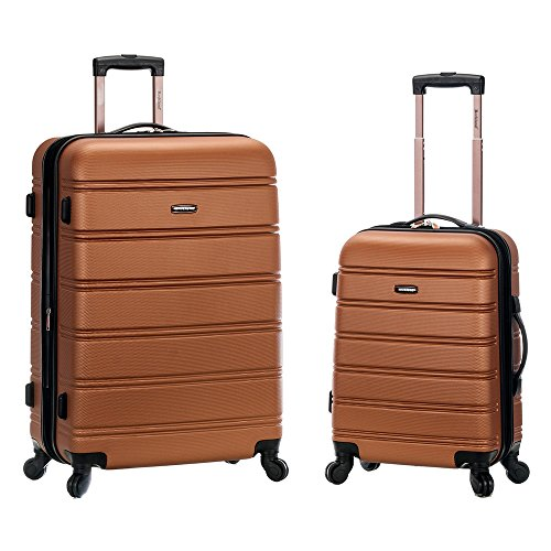 Rockland Luggage 20 Inch and 28 Inch 2 Piece Expandable Spinner Set, Brown