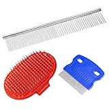 Dog Grooming Comb Dog Bath Brush Tear Stain Remover Combs for Dogs & Cats with Short to Long Hair,3 Sets Pet Grooming Tool Ideal for Everyday Use