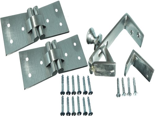 1 Set Of Satin Chrome Counterflap Catch With 2 Hinges 102 X 32 X 38Mm + Screws