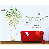 Unique Adhesive Rooms Walls Vinyl DIY Stickers / Murals / Decals / Tattoos With Tree, Birds, Photos Presentation Frames And Quotes Designs By VAGA