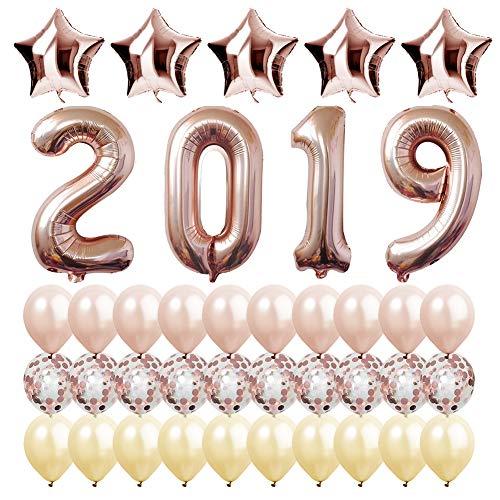 (LandJoker 2019 Rose Gold Digital Balloon, Latex Balloon Rose Gold Champagne Gold Transparent Sequins and Pentagram Balloon Celebration Party Dress Up)