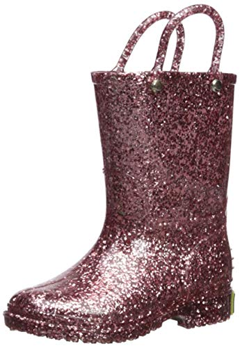 Western Chief Kids Girls' Glitter Waterproof Rain Boot, Rose Gold, 1 M US Little Kid -