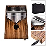 African 17 Keys Thumb Piano EQ Kalimba With Jack Song Book Tuning Hammer Pickup Carry Bag Natural Acacia Wood Finger Piano Metal Engraved Notation Tines Kids Musical Instrument Gifts for Music Lover B