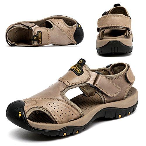 BINSHUN Sandals for Men Leather Hiking Sandals Athletic Walking Sports Fisherman Beach Shoes Closed Toe Water Sandals Khaki