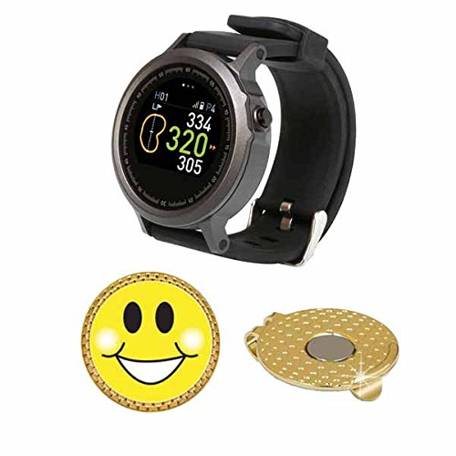 GolfBuddy WTX Golf GPS/Rangefinder Smart Watch (40k+ Preloaded Worldwide Courses) Bundle with Magnetic Hat Clip Ball Marker (Smiley Face) by Amba7