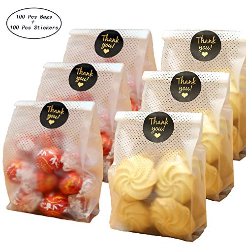 SAILING-GO 100 pcs./Pack Translucent Plastic Bags for Cookie,Cake,Chocolate,Candy,Snack Wrapping Good for Bakery Party with Thank You Stickers