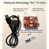 Firehouse TechnologyArc Tri-Color 4 Cree Strobe Light Drone Quadcopter UAS Approved FAA 107.29 DJI Inspire 1 2 Phantom Mavic Pro Air Typhoon H Yuneec Matrice Fully Self Contained No Wiring