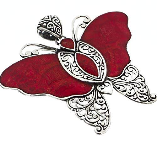 2 1/8'' Bali Handmade RED Sponge Coral Butterfly 925 Sterling Silver Pendant YE-1697 ()