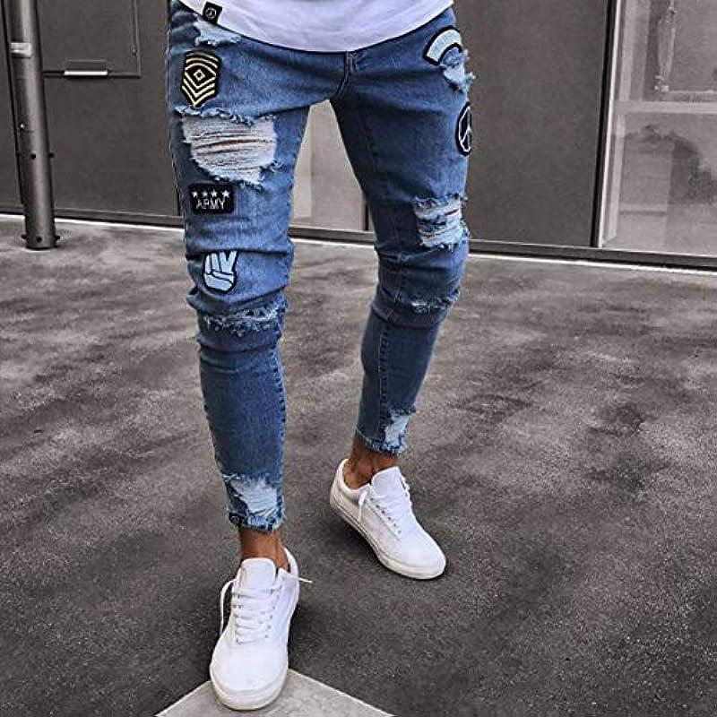 YsaAsa Męskie Badge Skinny Jeans Fashion Ripped Jeans Trend Lang Denim Hose: Küche & Haushalt
