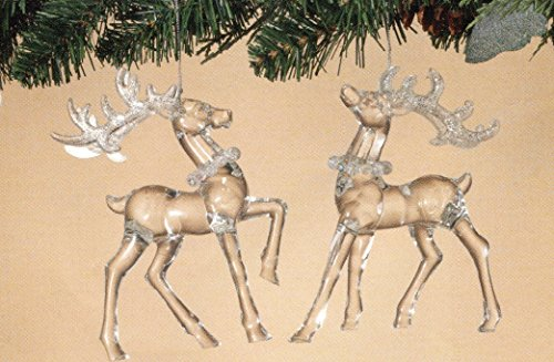 Set of 2 Beautiful Clear Fancy Reindeer Christmas Ornaments ~ Looks Like Glass ~ 5.7in H]()