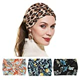 Twinfree 4 Pack Leaf Leopard Women Headbands Hair Wrap Stretchy Multi-use Hair Band