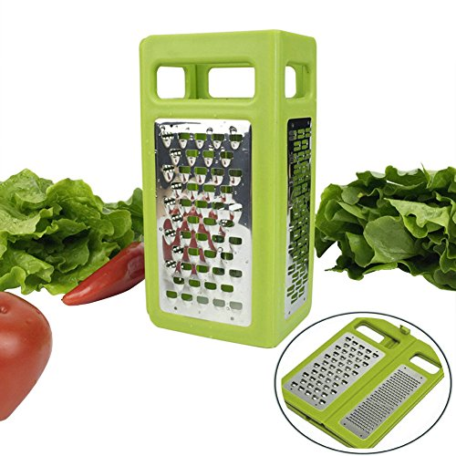 Folding Box Grater 4-Sided Stainless Steel Blades 4 In 1 Flat Graters For Cheese Vegetables Ginger Chocolate Potatoes Slicer Space (Folding Grater)