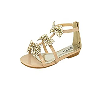 eb15b5fb44a5f Ladies Summer Strappy Bow Diamante Gladiator Sandals Women Party Flat Shoes  Size  Amazon.co.uk  Shoes   Bags