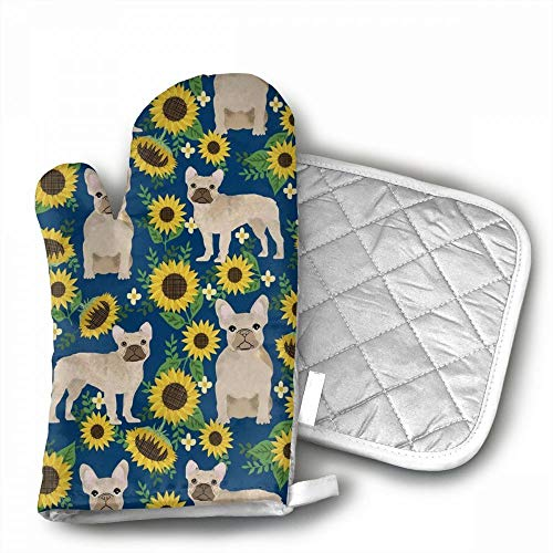 French Bulldog Sunflowers Oven Mitts,Professional Heat Resis