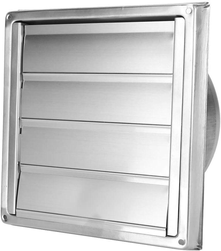 Aiggend Salida de Humos, de Acero Inoxidable de 150 mm Cuadrado de Rejilla Activa de Salida de Aire de ventilación Cubierta Campana de Pared Exterior