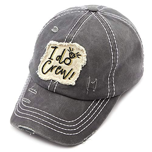 (C.C Exclusives Hatsandscarf Washed Distressed Cotton Denim Ponytail Hat Adjustable Baseball Cap (BA-2019) (Dk. Grey, I do Crew))