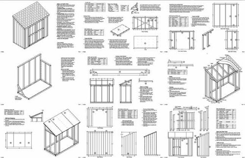 Slant   Lean To Roof Style Storage Shed Plans  4  x 8  Plans Design 10408    Woodworking Project Plans   Amazon com. Slant   Lean To Roof Style Storage Shed Plans  4  x 8  Plans