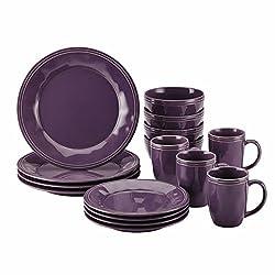 Rachael Ray Cucina Dinnerware 16-piece Stoneware Dinnerware Set (1, Purple)