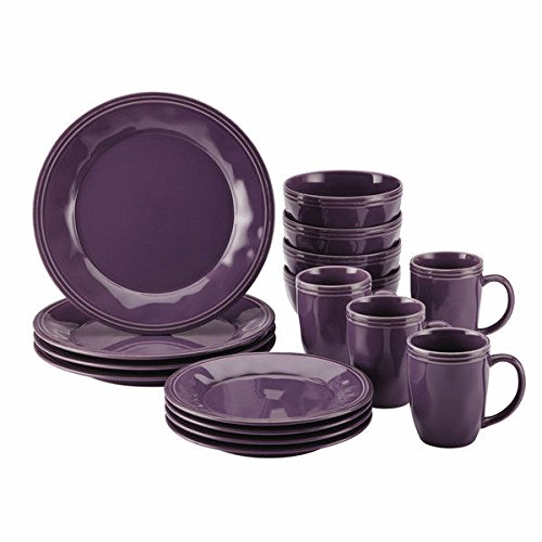 Rachael Ray Cucina Dinnerware 16-piece Stoneware Dinnerware Set (1, Purple)