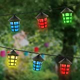Garden Mile  Multi-Coloured Traditional Coach Lantern Solar String Lights 20 LED Lights Waterproof 3.5m Outdoor String Lights Solar Lights Fairy Lights Lantern String Lights Ambiance Lighting for Outside Garden Lighting Outdoor Yard Home Landscaping Lights Halloween Christmas Party Decora