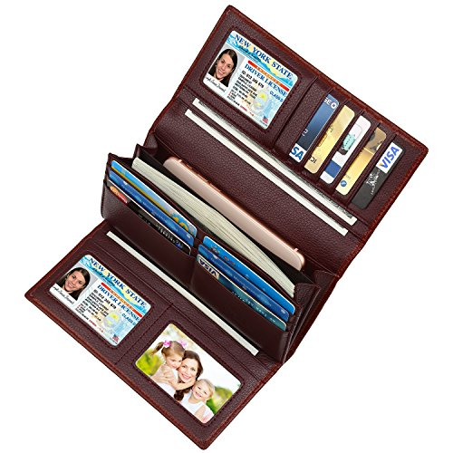 Wallet Rfid Clutch Dante Checkbook Coffee Leather Trifold Blocking Real For Women YSwRTqg