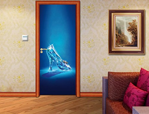 Cinderella Glass Shoe DOOR WRAP Decal Sticker Wall Personalized NAME Disney D28, Custom
