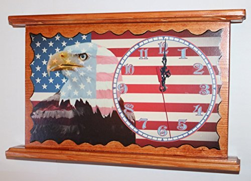 American Eagle Clock - American Eagle USA Flag Clock Personalized Wall or Mantel