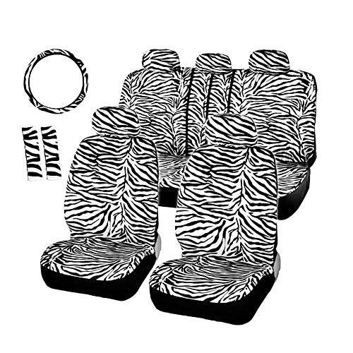 Audel Zebra Car Seat Covers for Full Set with 2 Seat Belt Pads & Universal 15 Inch Steering Wheel Cover Fit for Cars, Trucks, SUV, or Van