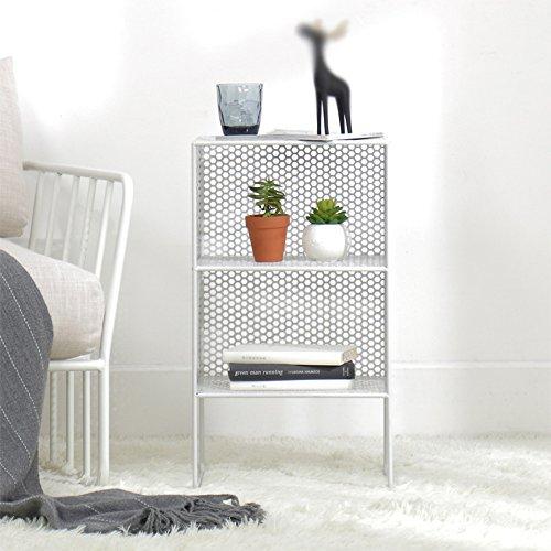 AJZGF European-Style Living Room 3-Floor Floor Wrought Iron Shelf Shelf Bedside cabinets Bedroom Shelf Size 35 30 62cm Shelf (Color : White)