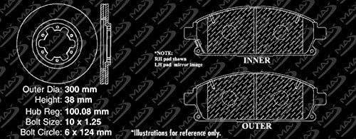 KT028131 Max Brakes Front Performance Brake Kit Fits: 2001 01 2002 02 Nissan Pathfinder Premium Slotted Drilled Rotors + Ceramic Pads