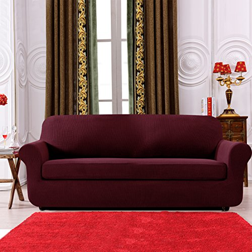 Subrtex 2-Piece Spandex Stretch Sofa Slipcover (Sofa, Wine)