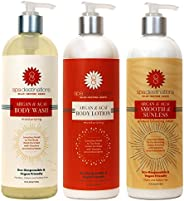 Spa Destinations TRIO 16 ounce - Argan & Acai Body Wash, Argan & Acai Body Lotion and Argan & Acai