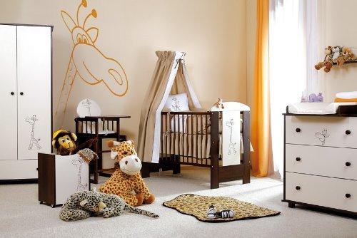Kinderzimmer Safari Babybett incl. Lattenrost, Matratze, Bettwäsche, Wickeltisch, Kleiderschrank