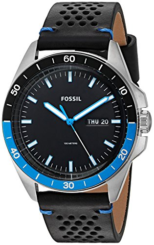 Fossil-Mens-Sport-54-3H-Day-date-Quartz-Stainless-Steel-and-Leather-Casual-Watch-ColorBlack-Model-FS5321