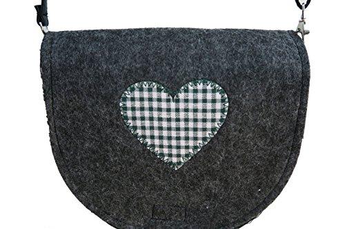 Filztasche halbrunde Umhängetasche aus Filz dunkelgrau mit grünen Herz 24x23 cm