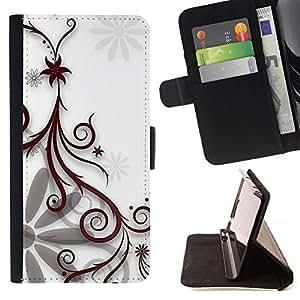 Momo Phone Case / Flip Funda de Cuero Case Cover - Dise?o floral blanco - Apple Iphone 6 PLUS 5.5