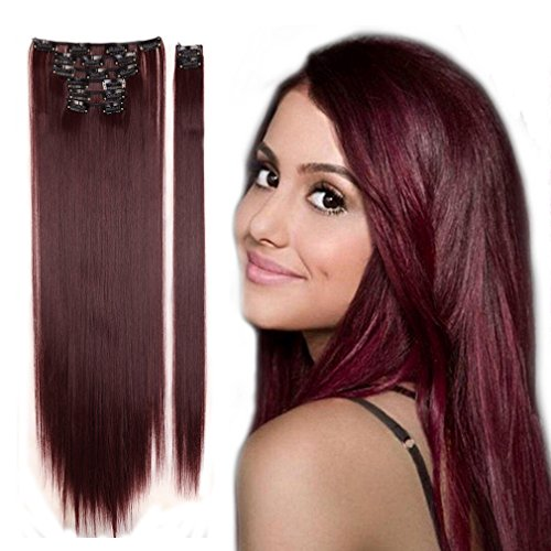 Clip in Hair Extensions Synthetic Full Head Charming Hairpieces Thick Long Straight 8pcs 18clips for Women Girls Lady (26 inches-straight, wine red) by Beauti-gant