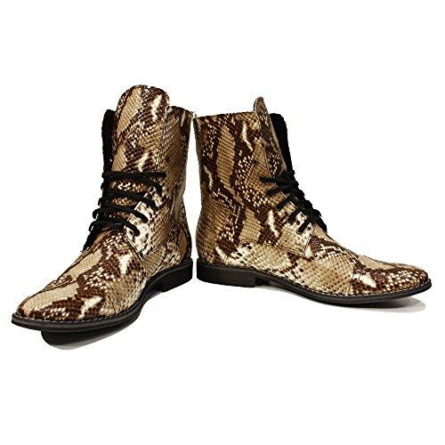 PeppeShoes Modello Snaketo - Handgemachtes Italienisch Leder Herren Braun Hohe Stiefel - Rindsleder Geprägtes Leder - Schnüren