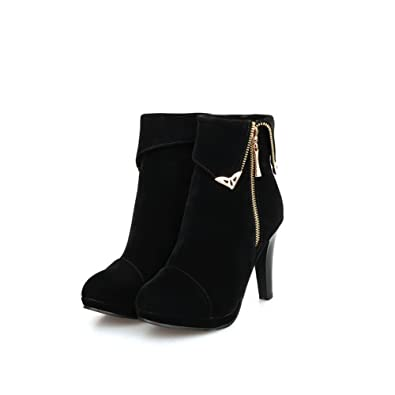 Womens Closed Round Toe High Heel Frosted Short Plush Solid Boots with Zipper and Metal