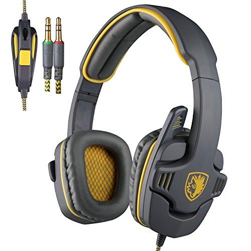 Sades SA-708 Zombie Version Stereo Gaming Headset 3.5mm Plug With Mic Computer Headphone Soft PU Leather Ear-cushion Gray Yellow