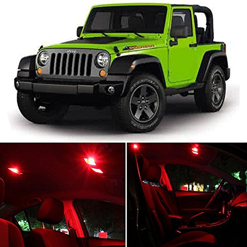 (cciyu Replacement fit for 2007-2017 Jeep Wrangler Interior LED Light Package Kit 8 Pcs Red Lights )