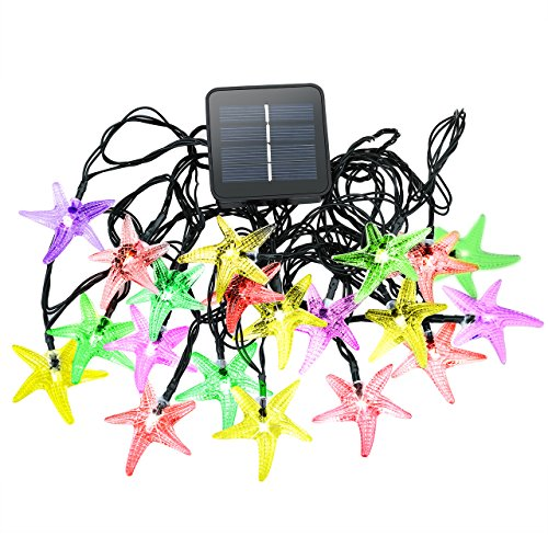 Cymas Outdoor Solar Star String Lights, Solar Powered Decorative Fairy Light Starfish for Home, Garden Décor(20 LEDs, 15.7ft)