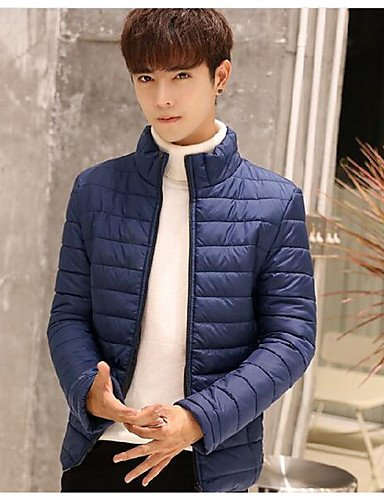 Padded Regular Long DGVFGBD Casual Men's Simple Cotton Sleeves Acrylic Coat Daily Solid blue qCwaxxp6