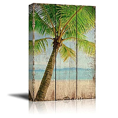 Palm Tree on an Island by The Shore Over Wooden Panels - Nature - Canvas Art Home Art - 16x24 inches