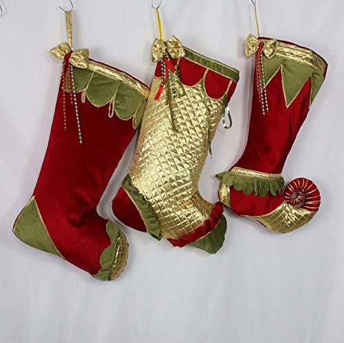 Velvet Christmas Stockings Jester Stockings Luxury Christmas Stockings Red Christmas Personalized Christmas Stockings Elf Christmas Decor Gold Christmas Stockings