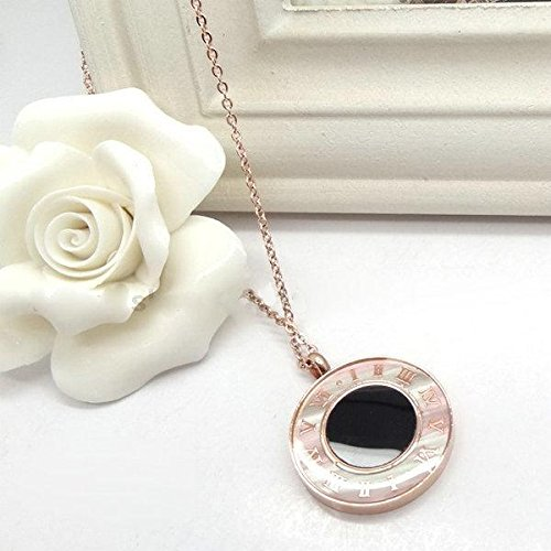 Shell Medallion Necklace (Generic Ms. _explosion_ models steel jewelry _Roman_numerals_in_ black _and_ White _shell_medallion_ necklace pendant rose gold necklace pendant simple fashion)