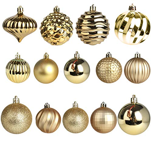 Jusdreen Christmas Tree Hanging Balls Decoration with Roping 60 Piece Baubles Set Christmas Package Tree Ornaments - Gold